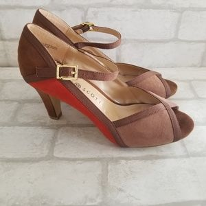 Karen Scott Open Toe Heels Brown Red 6M
